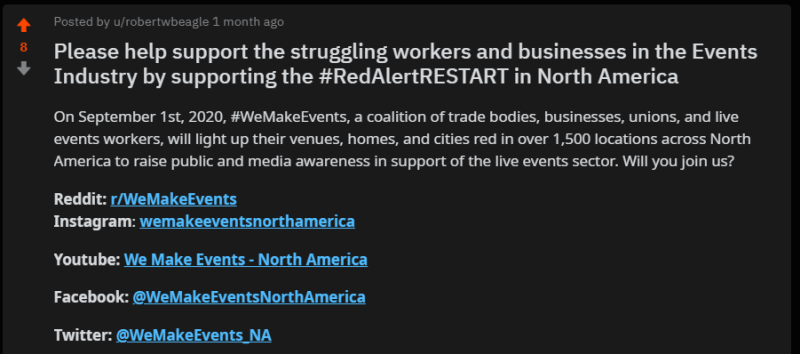 Please help support the struggling workers and businesses in the Events Industry by supporting the #RedAlertRESTART in North America